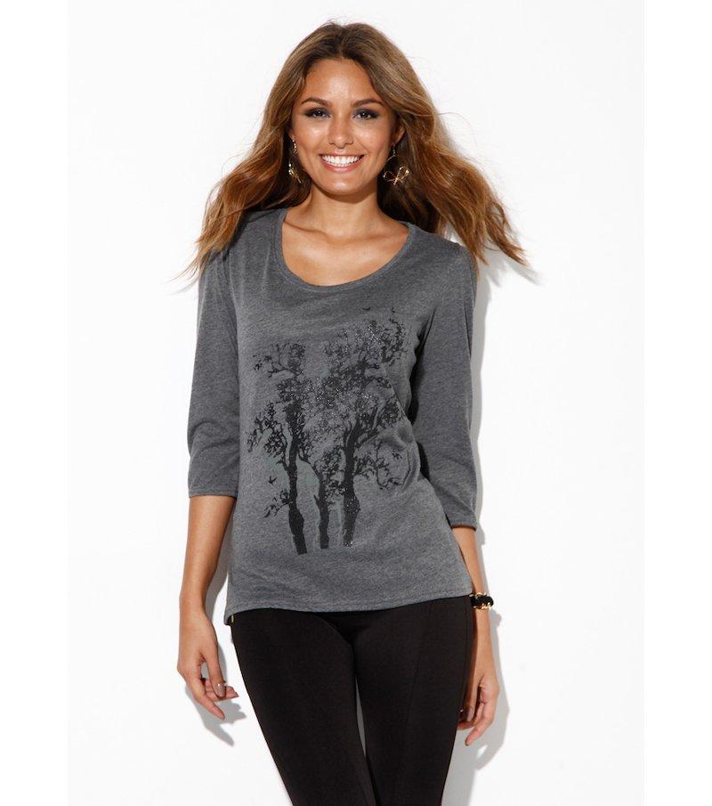 Camiseta mujer manga 3/4 estampada con purpurina