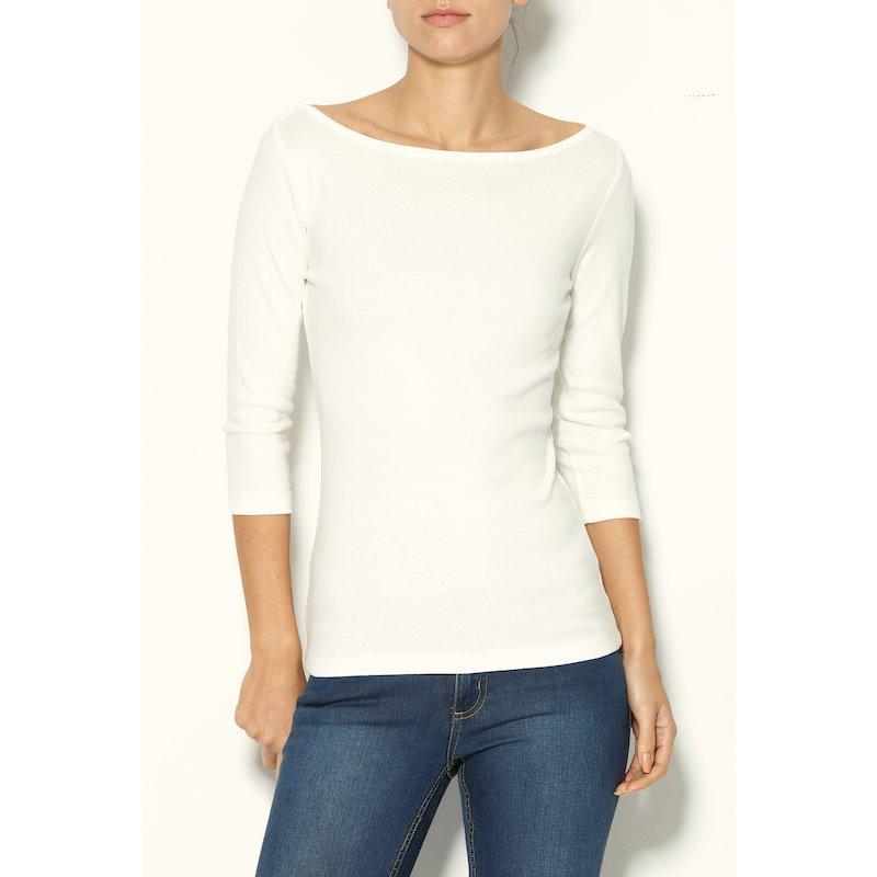 Camiseta mujer en 100% algodón escote barco
