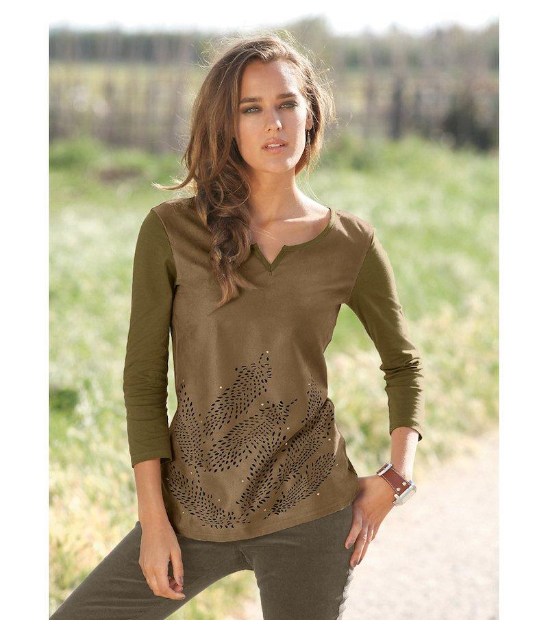 Camiseta mujer manga 3/4 antelina troquelada