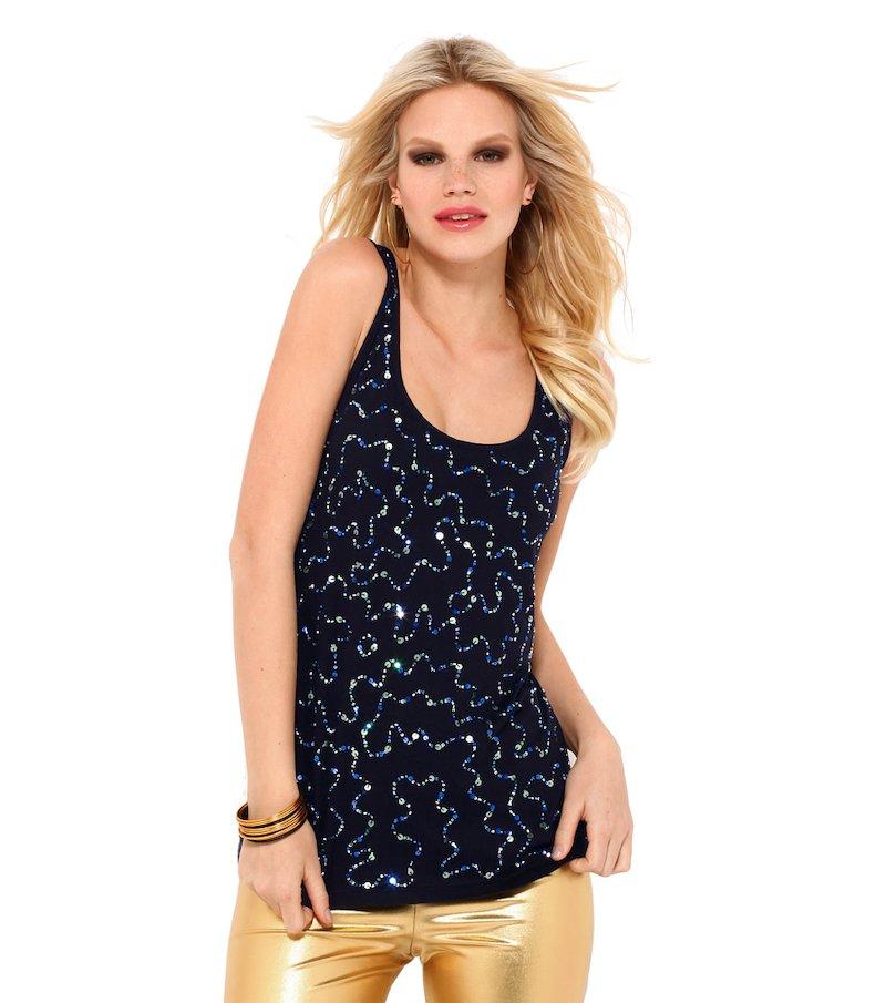 Camiseta mujer sin mangas lentejuelas y abalorios