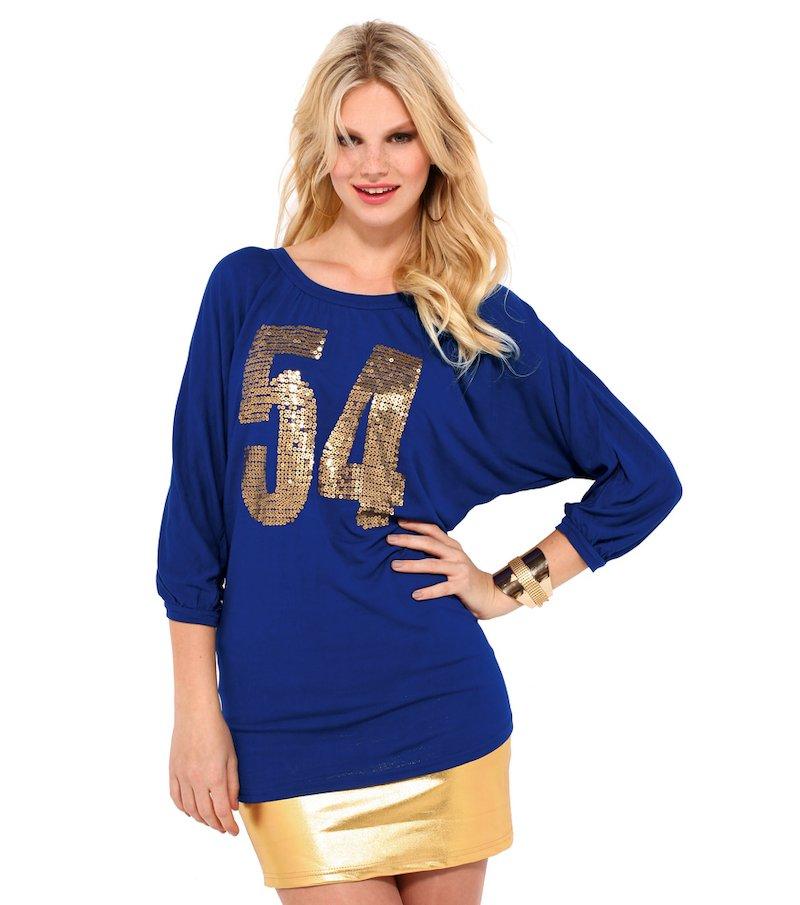 Camiseta mujer manga 3/4 con lentejuelas doradas
