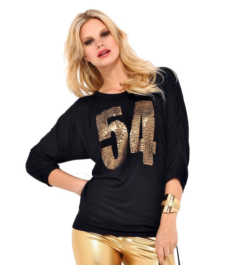 Camiseta mujer manga 3/4 con lentejuelas doradas - Negro