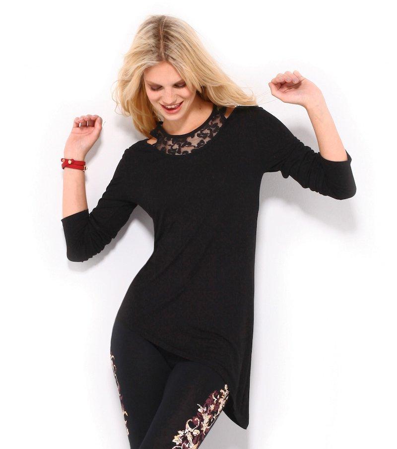 Camiseta mujer manga larga efecto doble con encaje