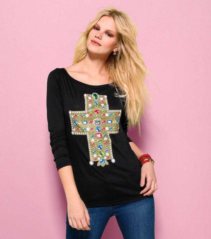 Camiseta mujer manga larga estampado cruz - Negro