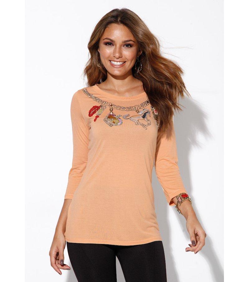 Camiseta mujer manga 3/4 estampado colgantes