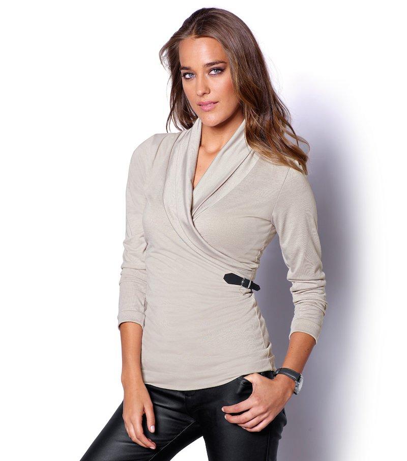 Camiseta mujer manga larga con hebilla