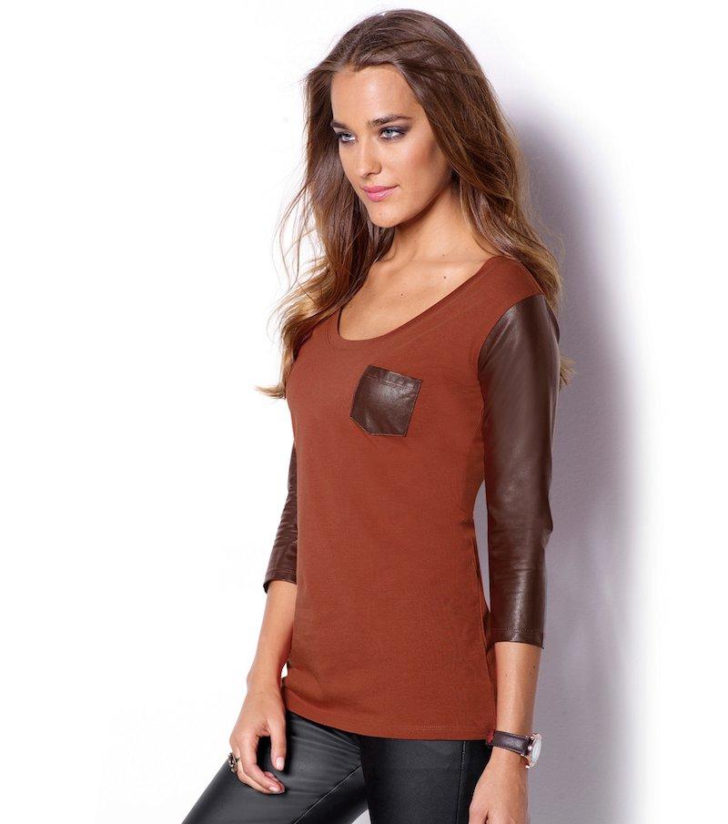 Camiseta mujer manga 3/4 punto con símil piel