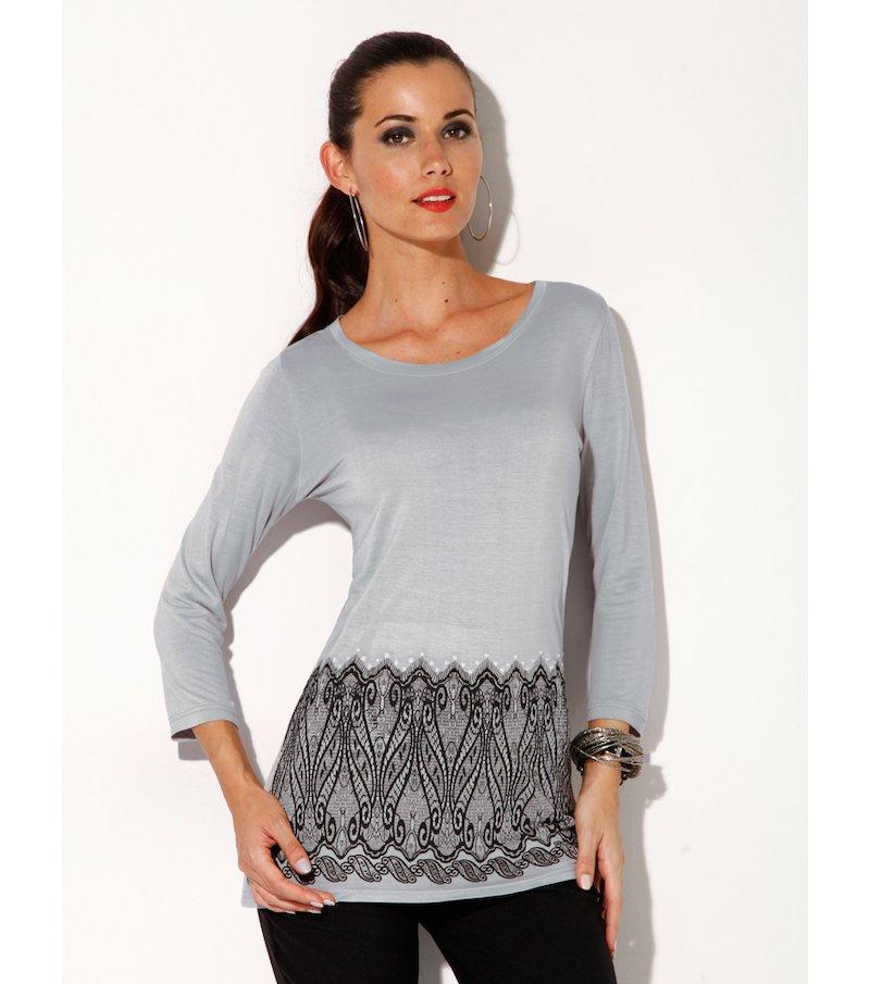 Camiseta mujer manga 3/4 con perlas y strass