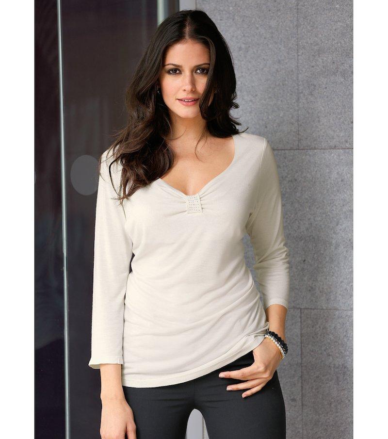 Camiseta mujer manga 3/4 con detalles de strass