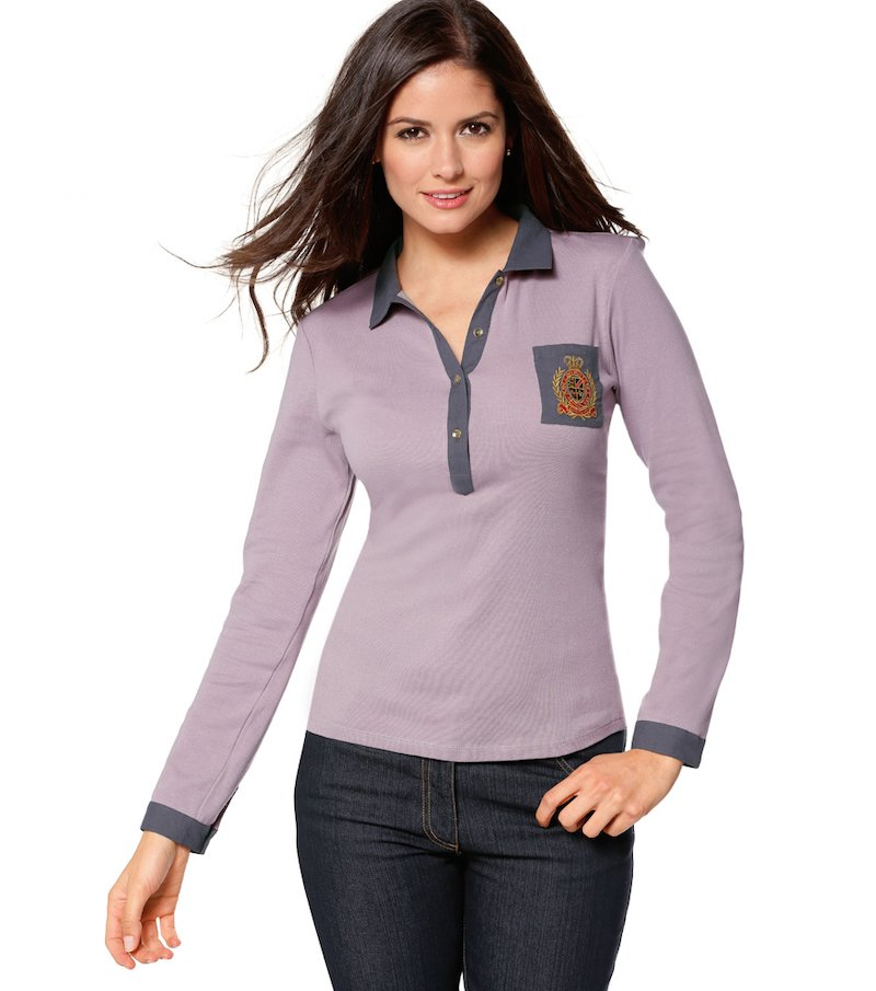 Camiseta polo mujer con bordado