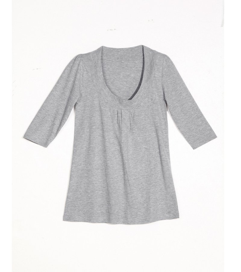 Camiseta manga 3/4 línea evasé con fruncido