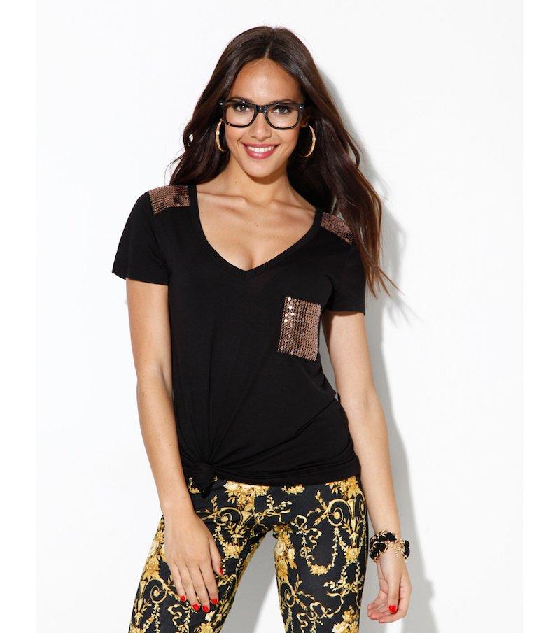 Camiseta mujer manga corta con lentejuela