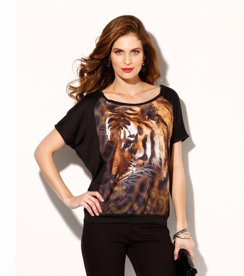 Camiseta mujer manga corta estampado animal