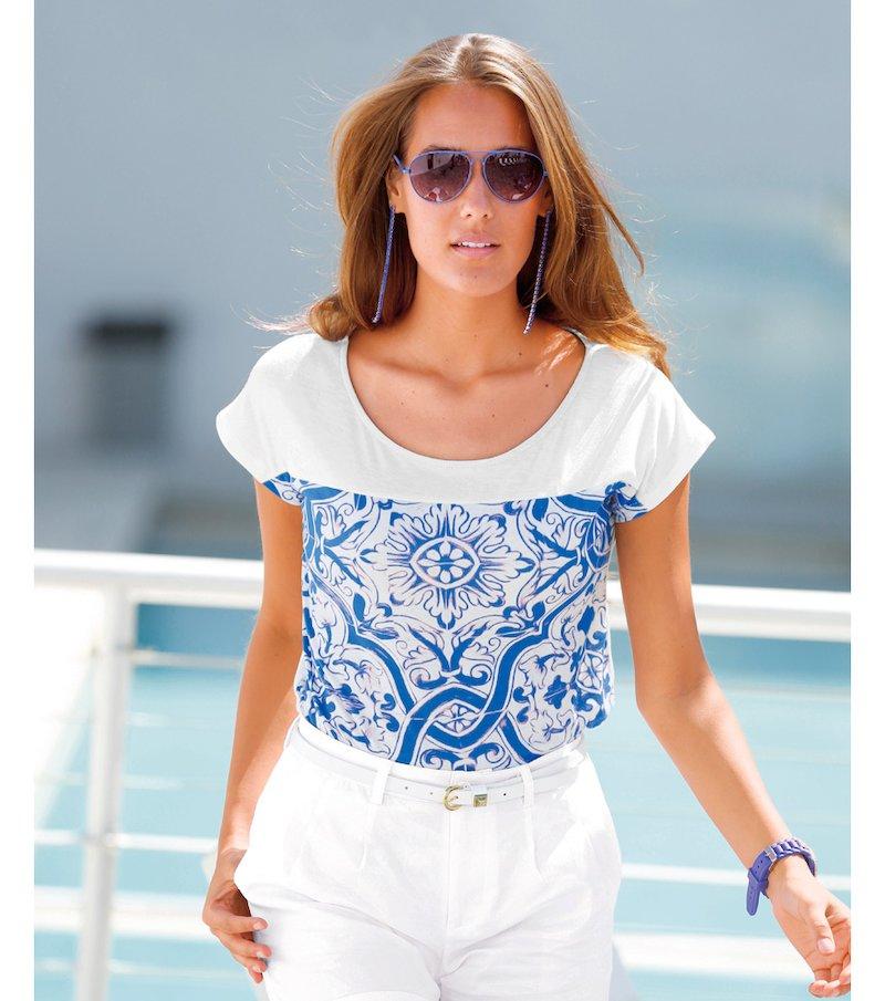 Camiseta mujer manga corta estampado porcelana