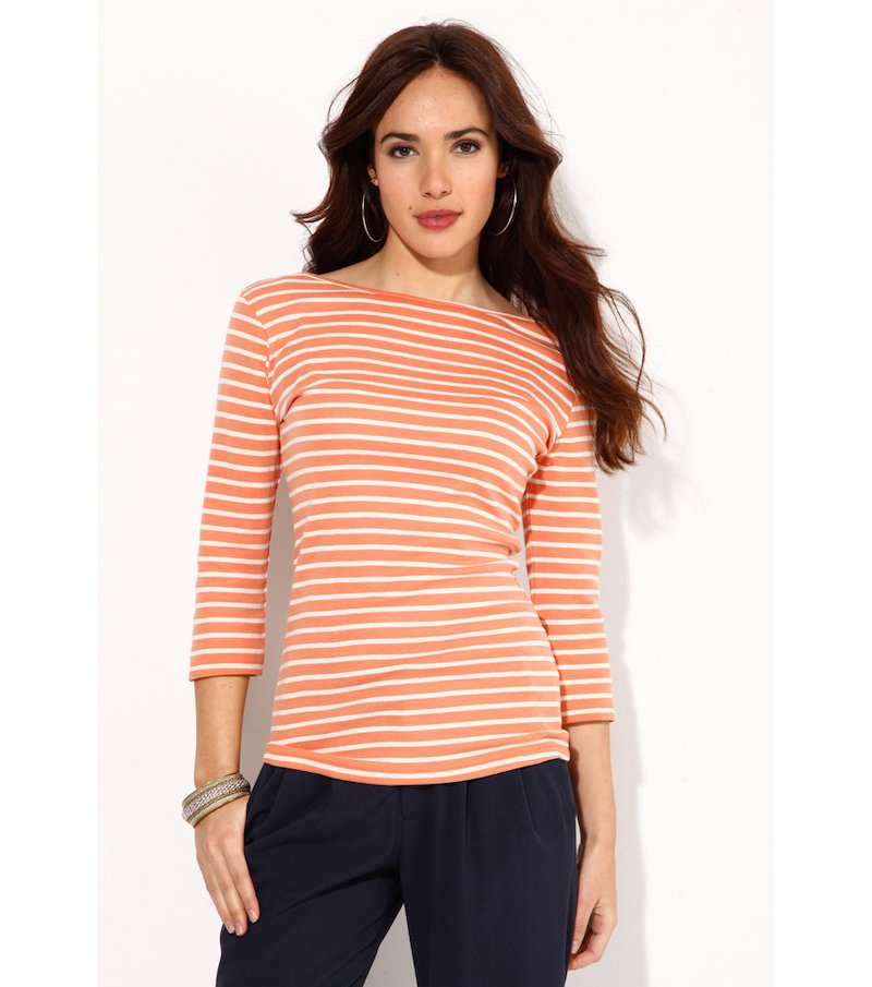 Camiseta manga 3/4 rayas tejidas de algodón - Rosa