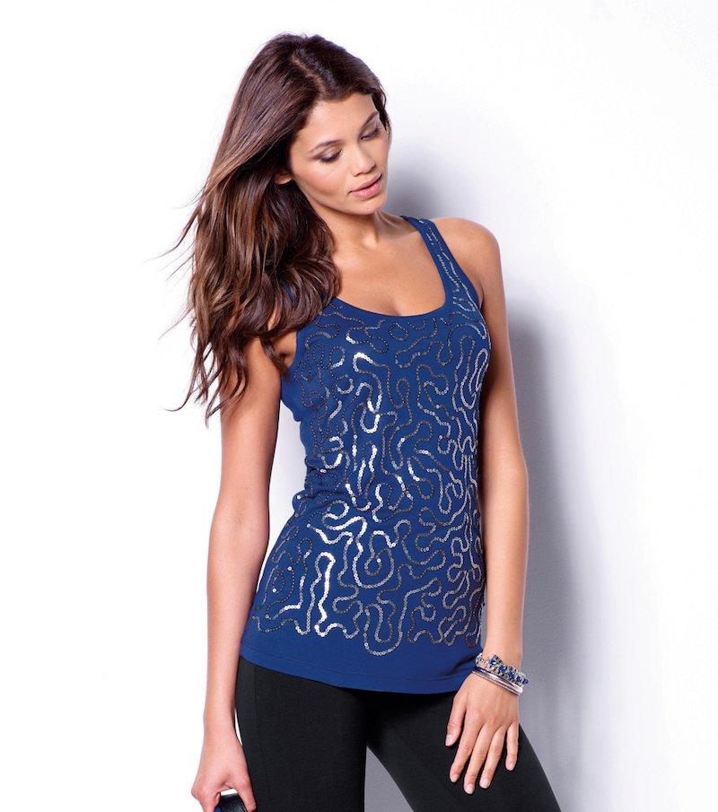 Camiseta mujer sin mangas lentejuelas punto liso