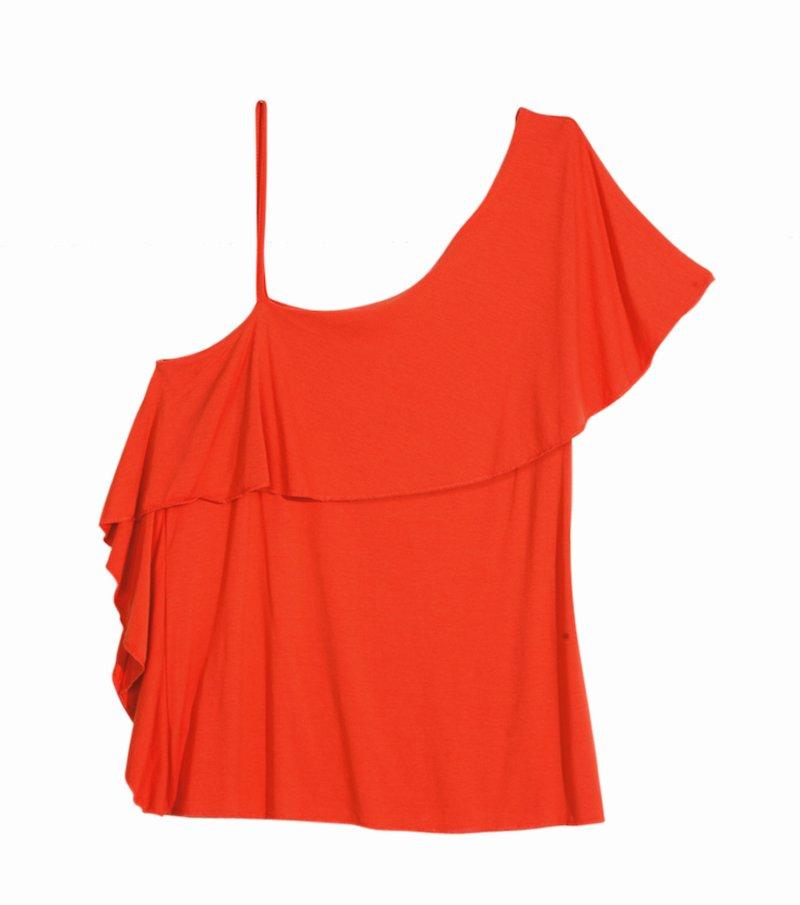 Camiseta mujer asimétrica con volantes