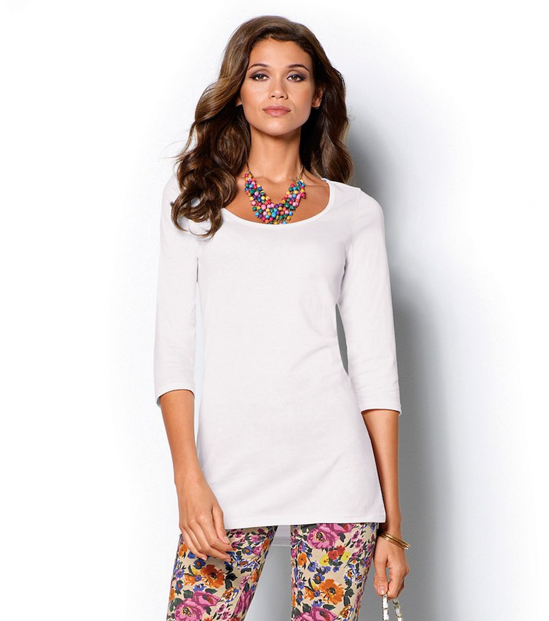Camiseta larga mujer manga 3/4 punto liso
