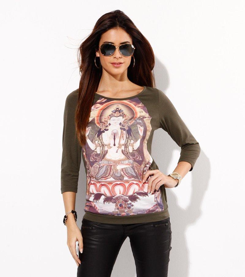 Camiseta mujer manga ¾ estampado hindú