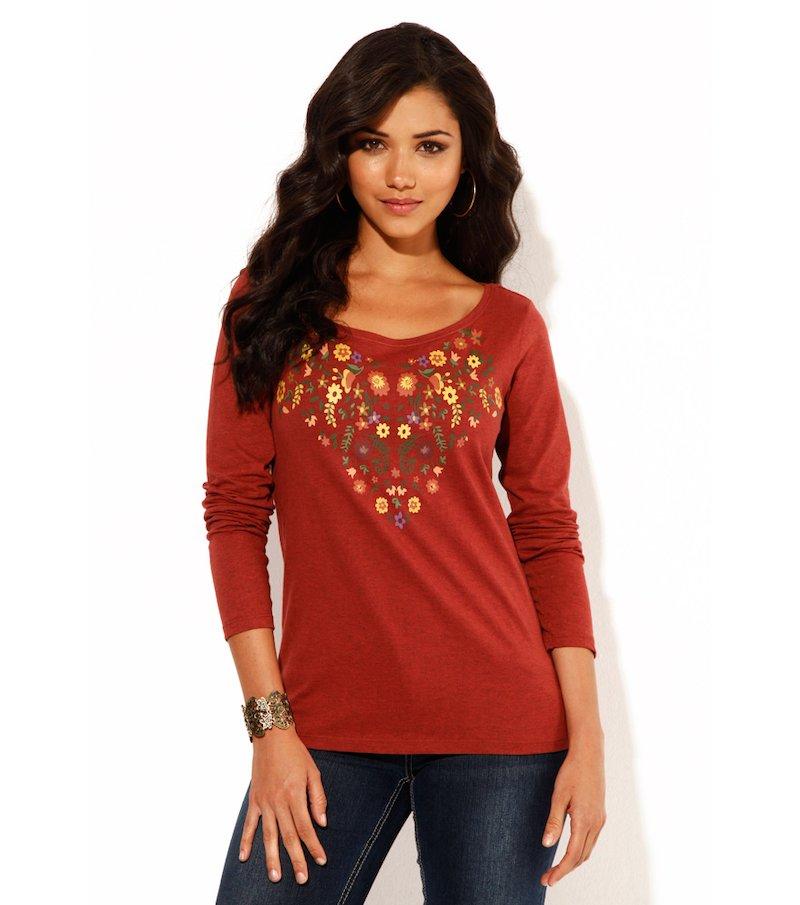 Camiseta mujer manga larga flores 100% algodón