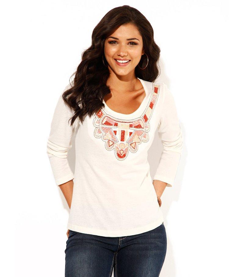 Camiseta mujer manga larga bordada - Blanco