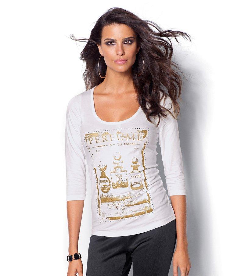 Camiseta mujer manga 3/4 con strass aplicado - Blanco