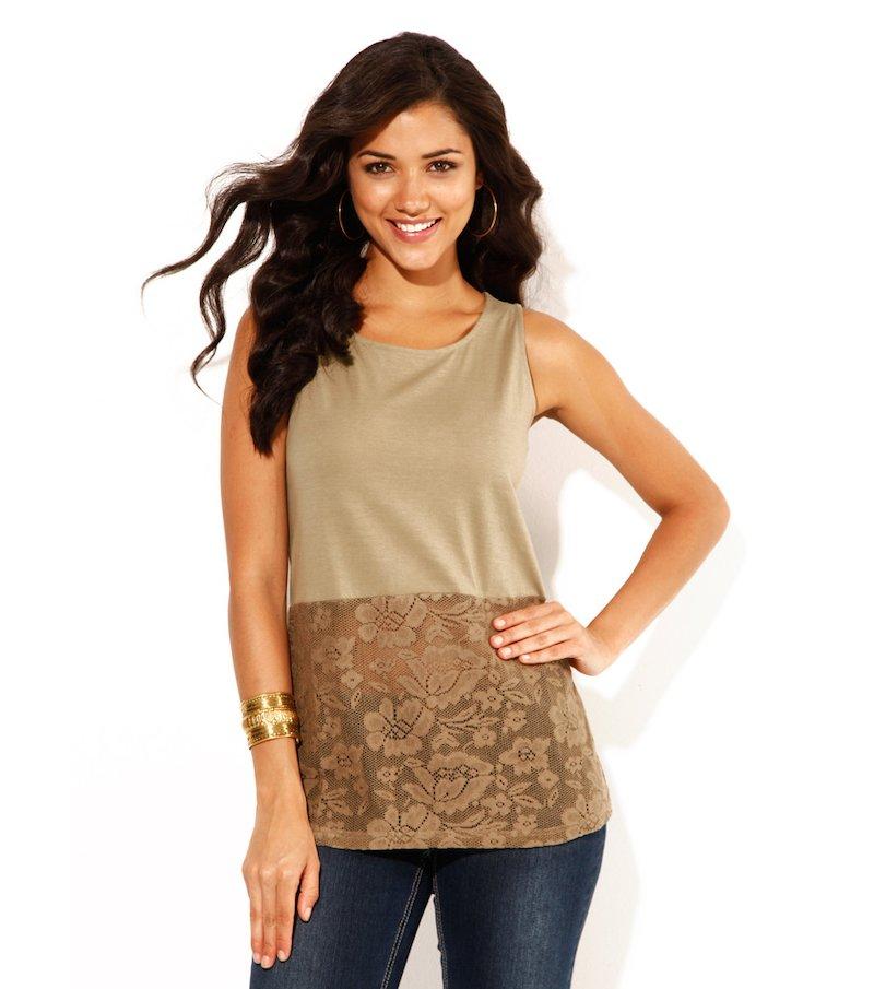 Camiseta mujer sin mangas con encaje