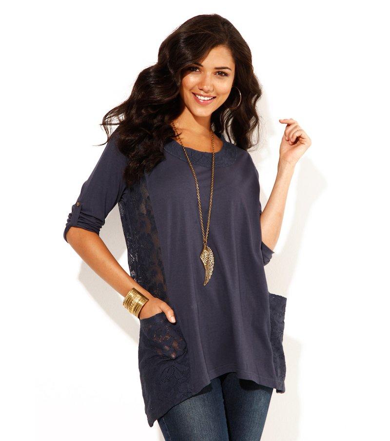 Camiseta mujer manga 3/4 regulable con encaje