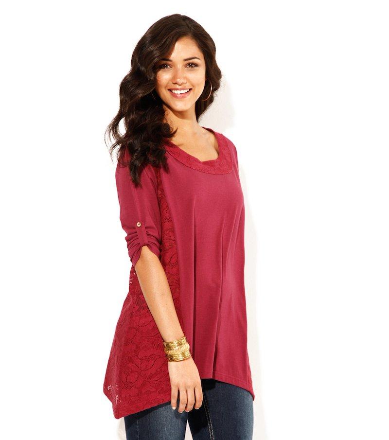 Camiseta mujer manga 3/4 regulable con encaje - Lila