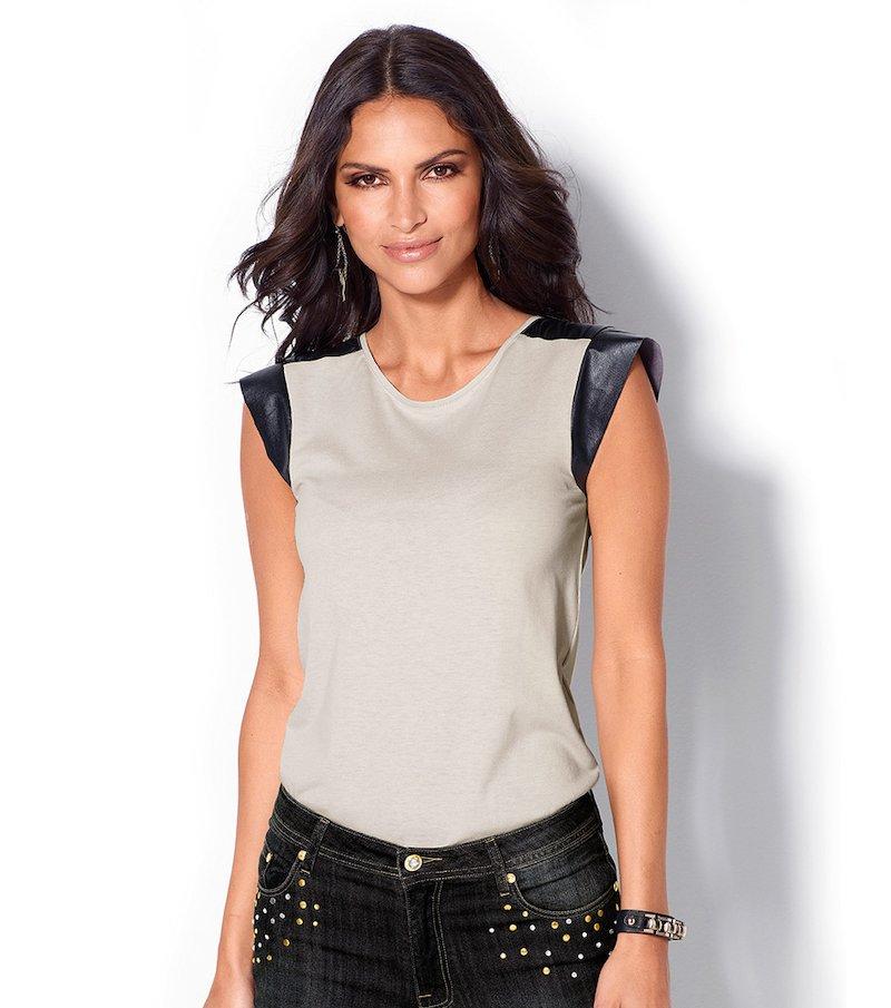 Camiseta mujer manga corta punto y símil piel