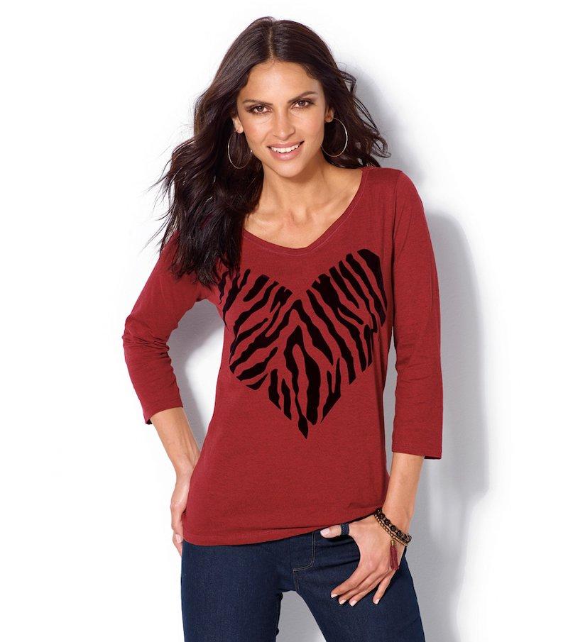 Camiseta mujer manga 3/4 estampado terciopelo
