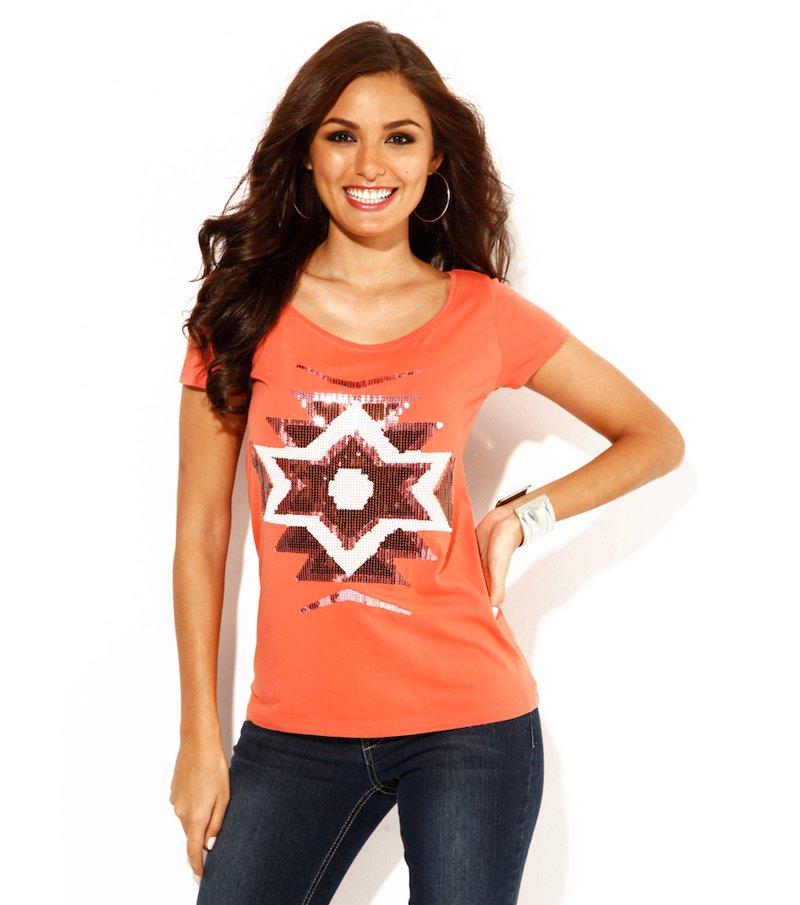 Camiseta mujer manga corta con lentejuelas