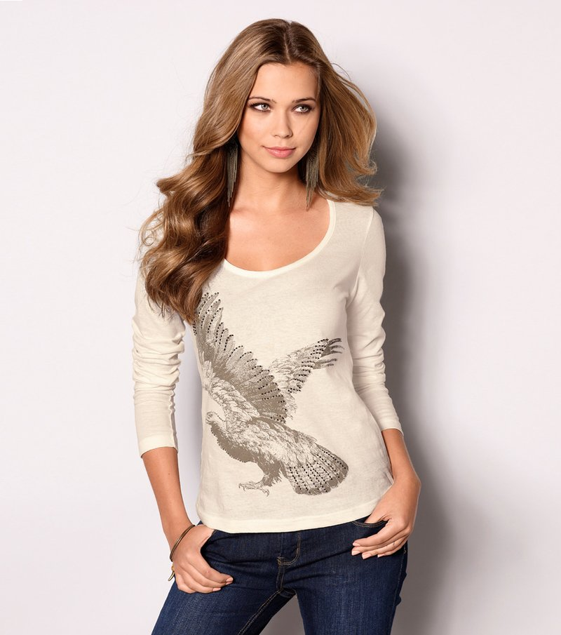 Camiseta mujer manga larga con aplicaciones