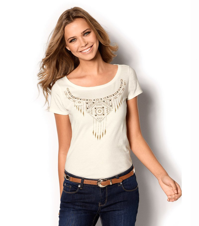Camiseta mujer aplicaciones y estampado