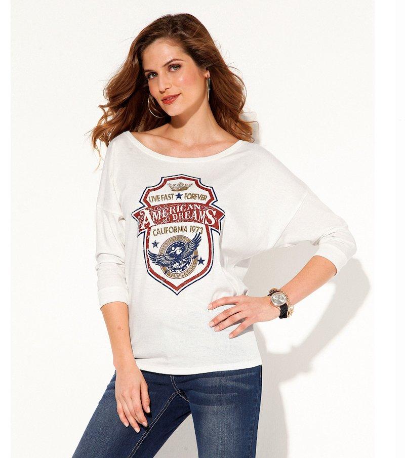 Camiseta mujer manga 3/4 estampada con strass