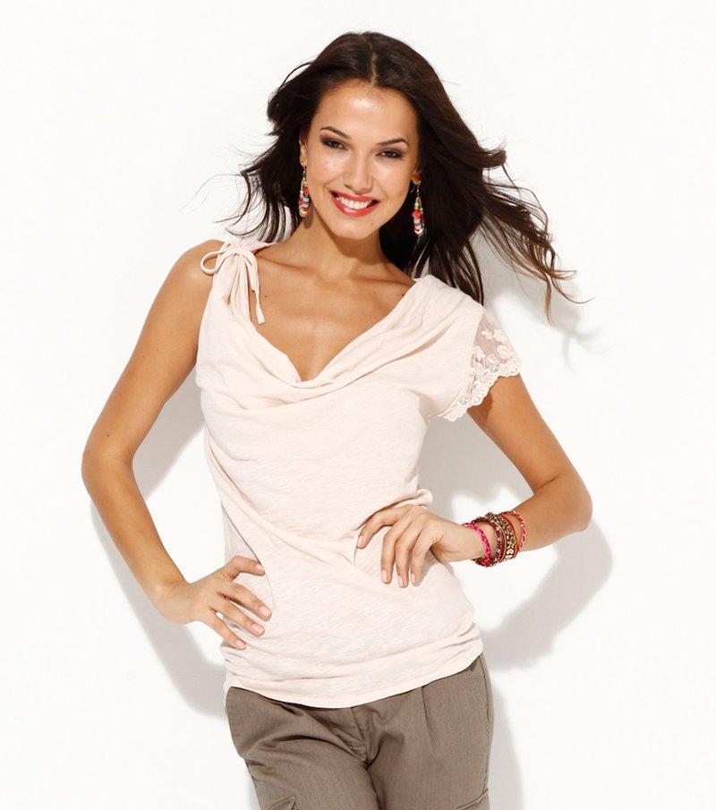Camiseta mujer manga encaje