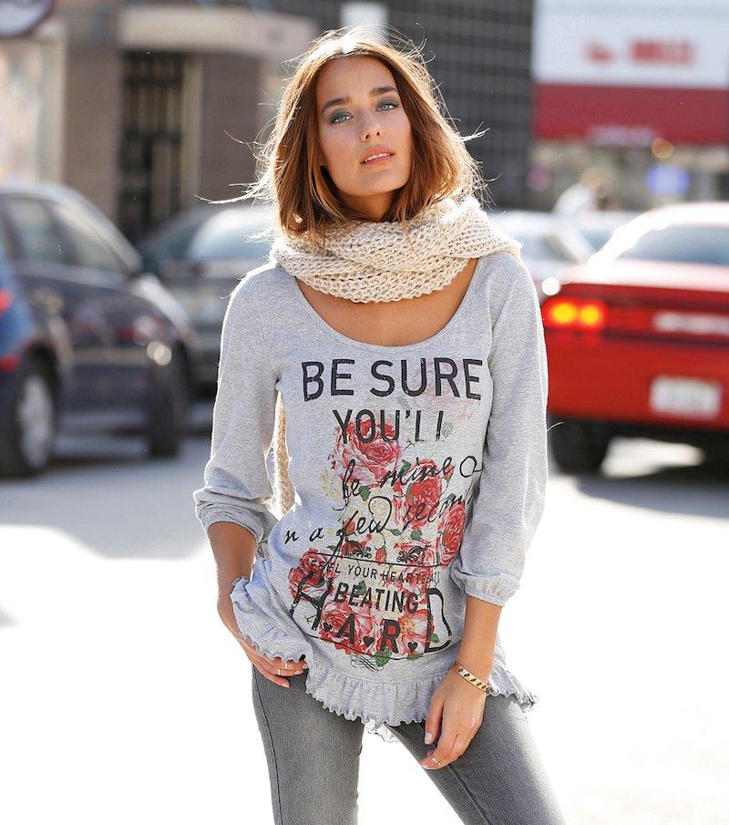 Camiseta mujer manga 3/4 con estampado y volante