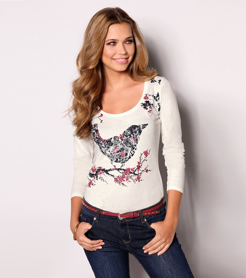 Camiseta mujer manga larga estampado pájaro