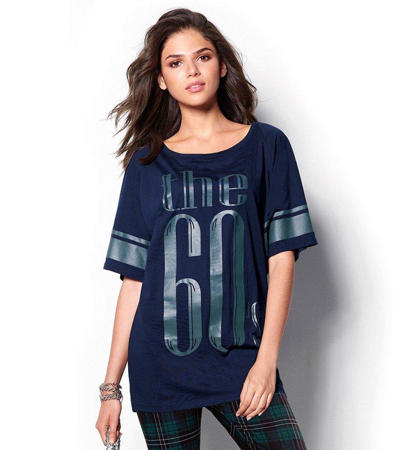 Maxi camiseta mujer manga estampada