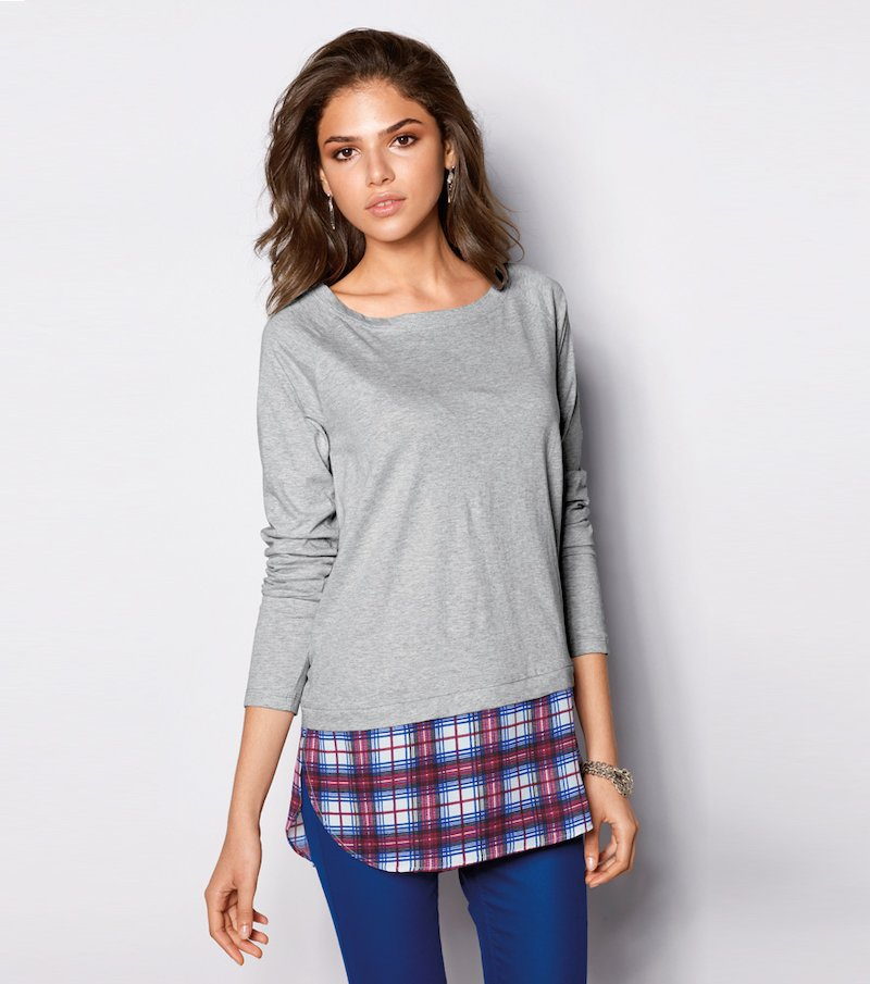Camiseta mujer manga larga efecto doble cuadros