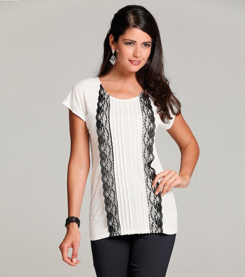 Camiseta mujer fiesta encaje y jaretas - Beige