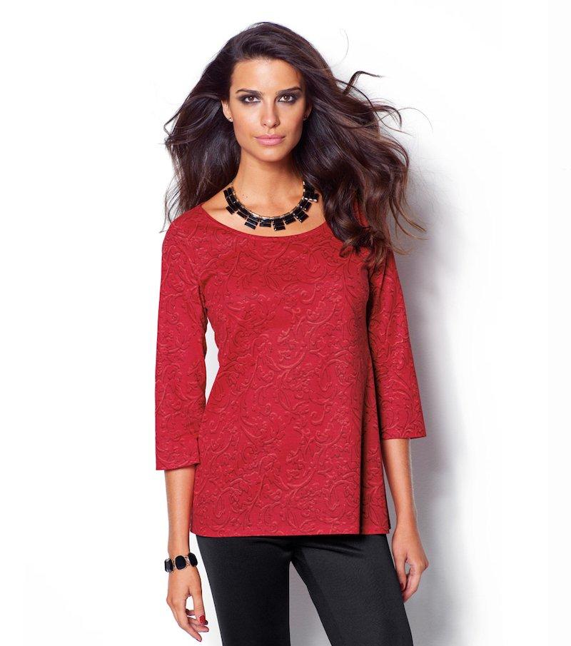 Camiseta mujer manga 3/4 evasé estampada - Rojo