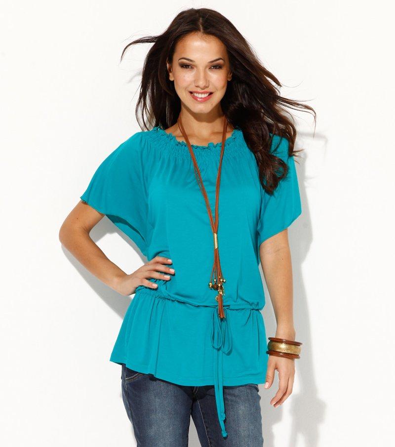 Camiseta túnica mujer escote barco elástico