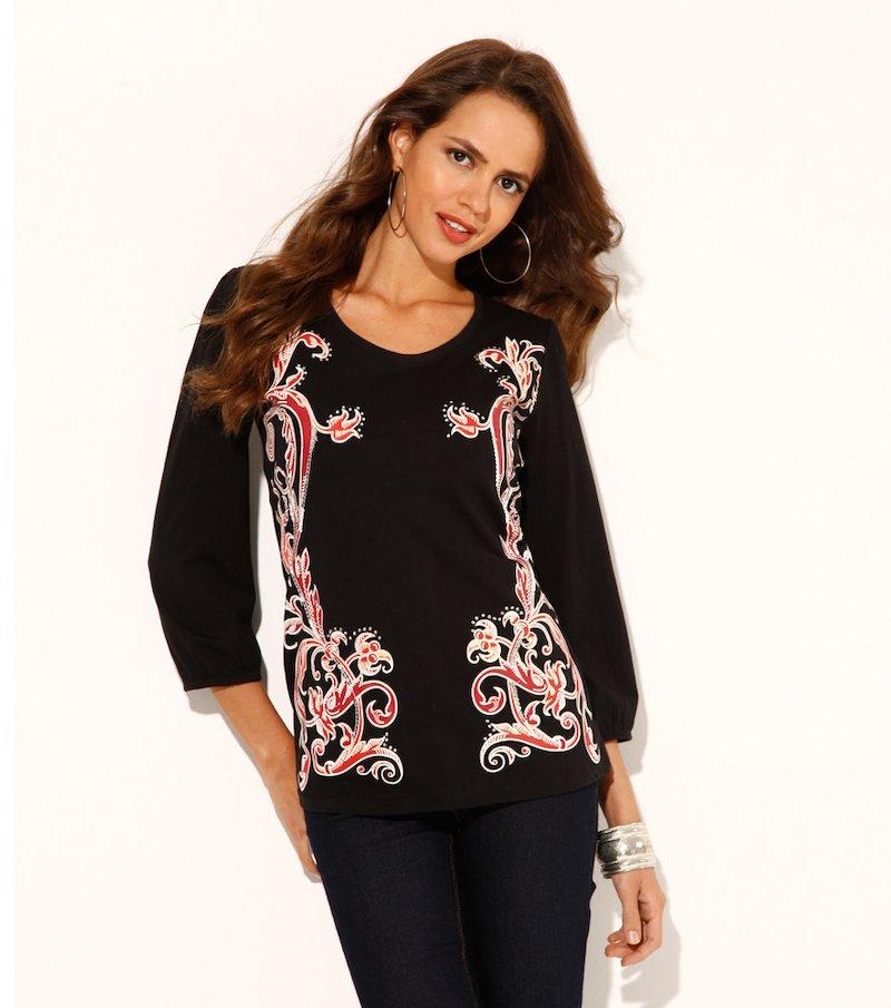 Camiseta mujer estampada con strass - Negro
