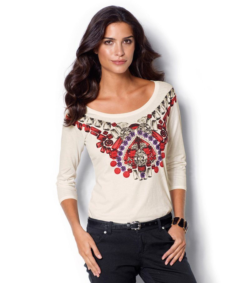 Camiseta manga 3/4 estampado tribal con pedrería - Beige