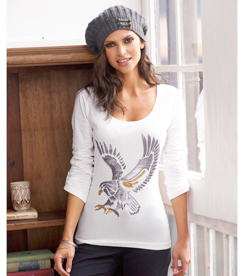 Camiseta mujer águila con lentejuelas