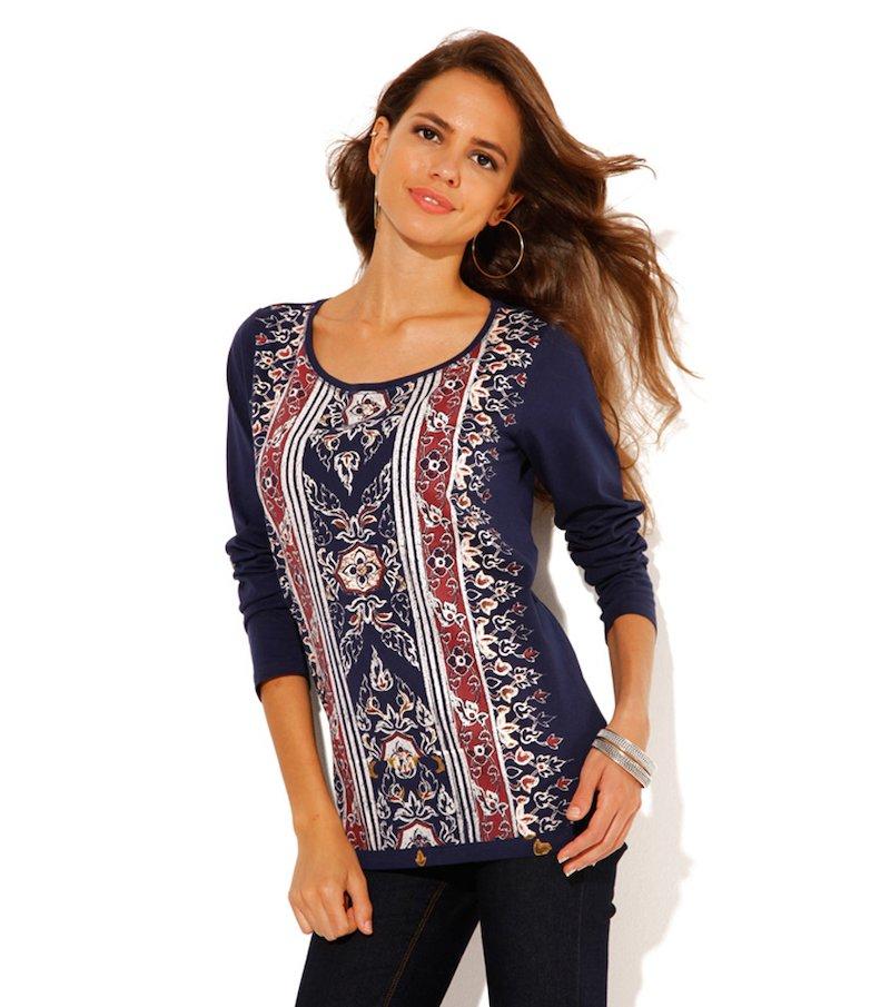 Camiseta mujer manga larga estampada