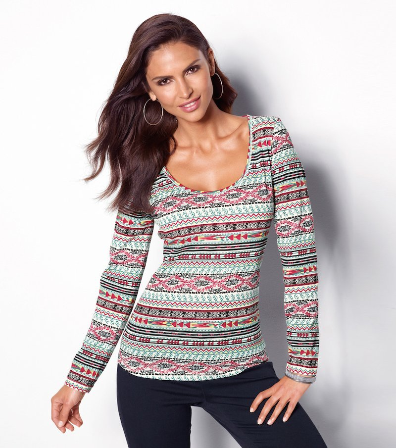 Camiseta mujer estampada manga larga