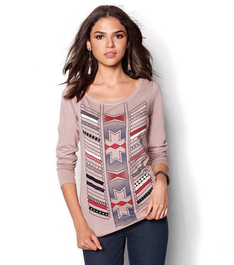 Camiseta mujer manga larga estampada - Beige