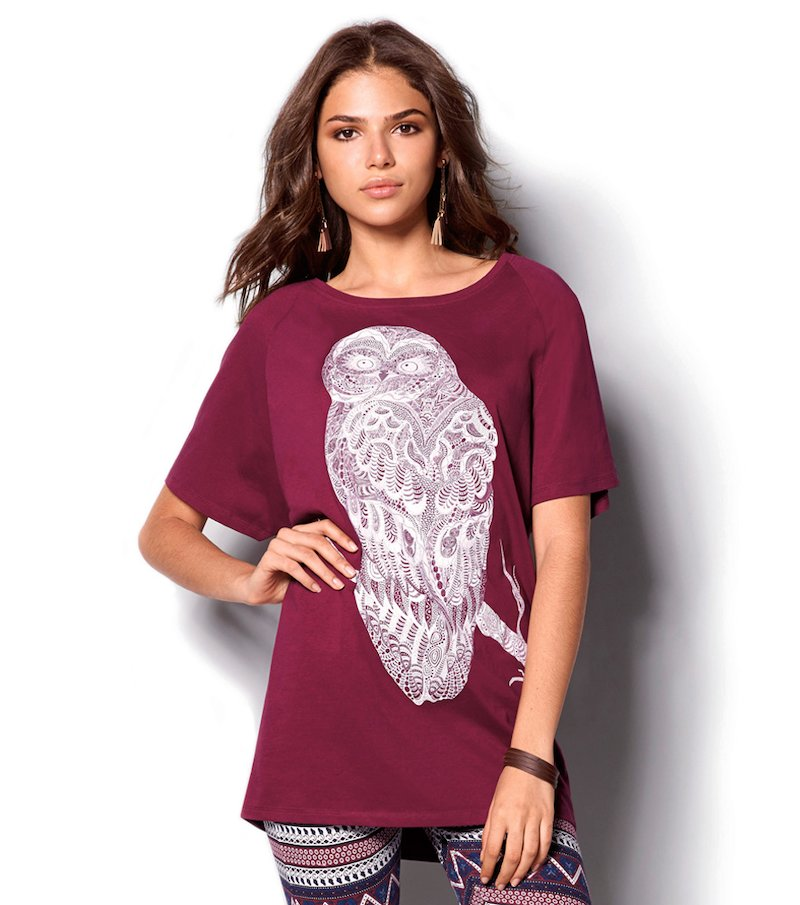 Camiseta mujer manga 3/4 estampada gran búho